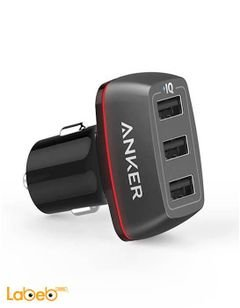 شاحن سيارة أنكر - 3 منافذ USB - اسود - A2231 PowerDrive+ 3