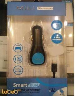 Mili Smart dual compact car charger - 2xUSB ports - 1m - HC-C10-L