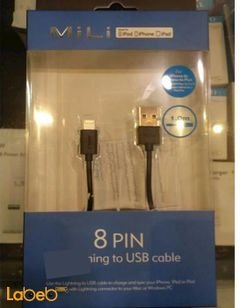 MiLi 8 Pin Lightning USB cable - 1m - Black color - HI-L80 model