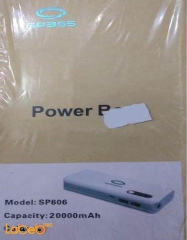 شاحن متنقل Spass سعة 20000mAh منفذين USB زهري موديل SP606