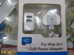 Nadi USB power adapter - for ipad - 2xUSB ports - White color
