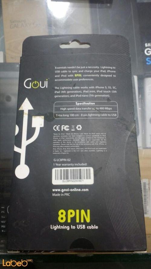 مواصفات كابل شحن Goui ايفون/ايباد/ايبود 100 سم G-LC8PIN-02