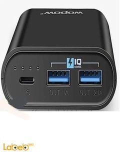 Wopow Power Bank - 10050mAh - 2xUSB ports - Black - P10+plus