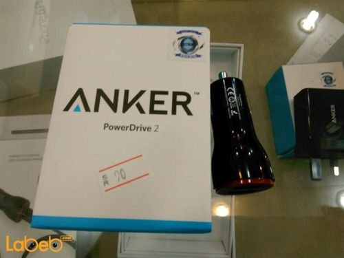 Black Anker PowerDrive 2 2-Port USB Car Charger Universal