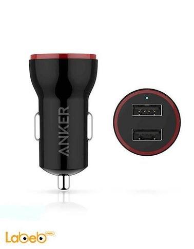 شاحن سيارة انكر مدخلين USB يونيفرسال أسود PowerDrive 2