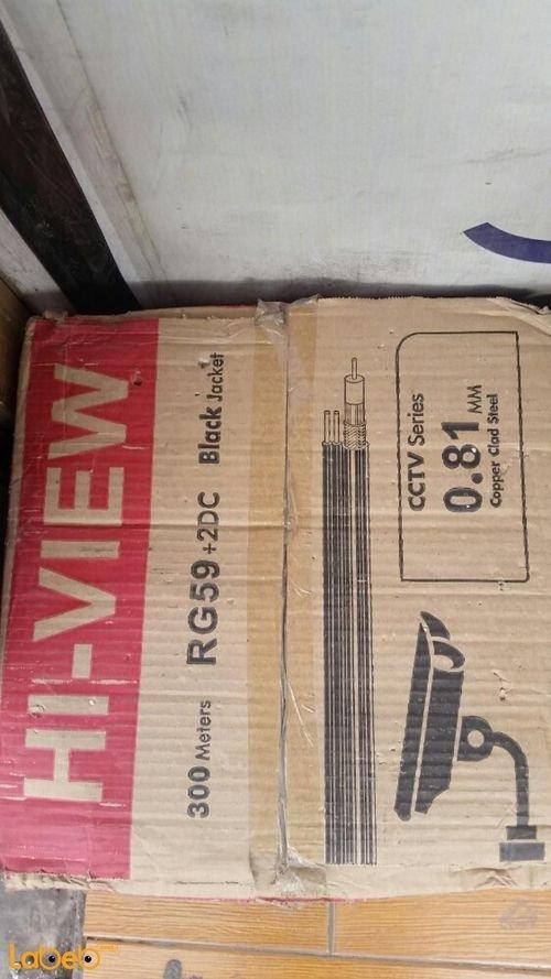 كابل كاميرات hi-view طول 300 متر 0.81 ملم أسود RG59+2DC