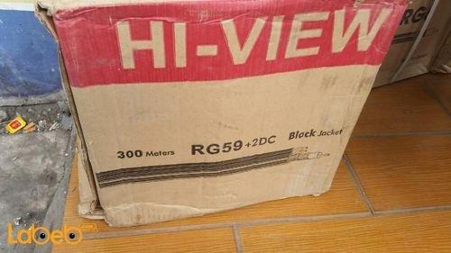 كابل كاميرات hi-view RG59+2DC طول 300 متر 0.81 ملم أسود