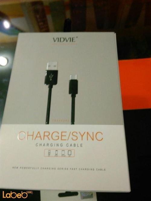 black Vidvie ChargeSync Cable USB 2M universal