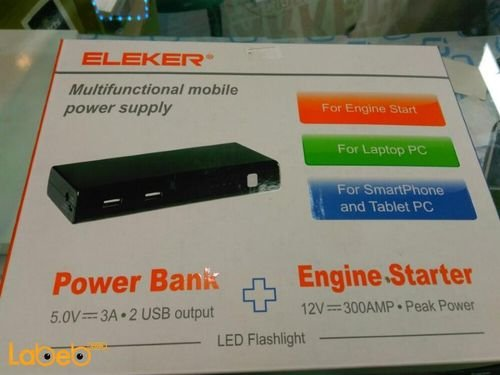 white ELEKER Power Bank 9600mAh 2 USB