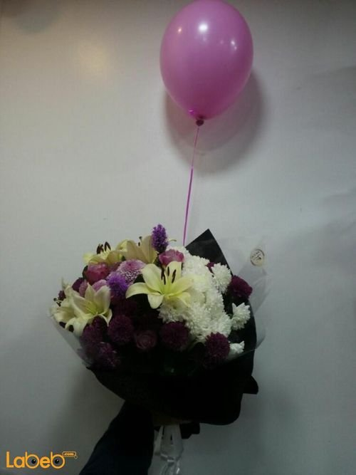 Flowers bouquet designed from Lilium krez Rose liatris flowers with Helium baloon