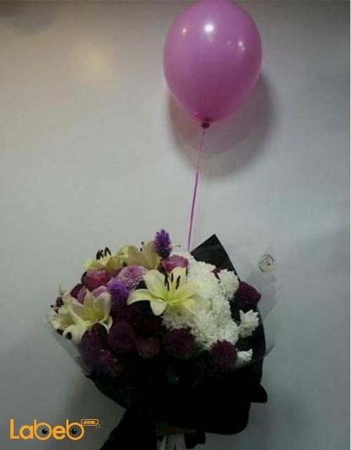 Flowers bouquet Lilium krez Rose liatris Helium baloon