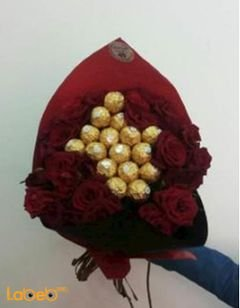 Flower bouquet - designed of roses and Ferrero Rocher chocolate