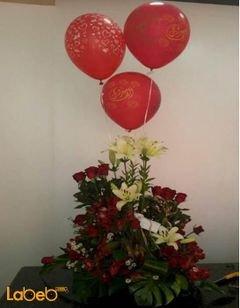 بوكية ازهار ورد جوري - زهرة الستروميريا - أستر ابيض - 3 بالونات هيليوم