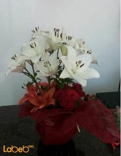 Flowers bouquet with glass base - lilium - rose flowers