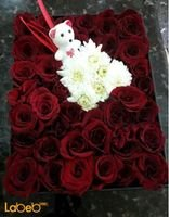 Flowers box red color krez in the middle & white accessories