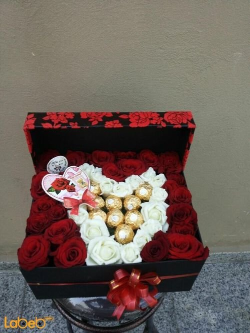 Flower red box from Ferrero Rocher chocolate and red/white rose