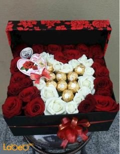 Flower red box - Ferrero Rocher chocolate and red/white rose
