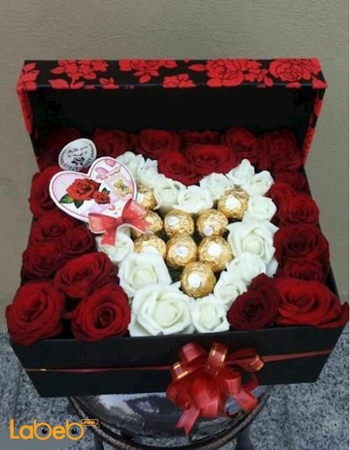 Flower red box Ferrero Rocher chocolate and red/white rose