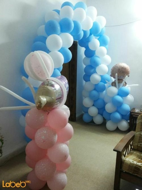Balloons decoration different colors for new born baby boy