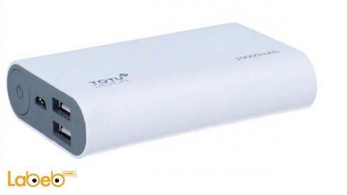 شاحن محمول Totu Design سعة 10000mAh منفذين USB ابيض