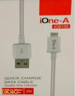 ione-A quick charge data cable - 2 m - White - ICB105 model