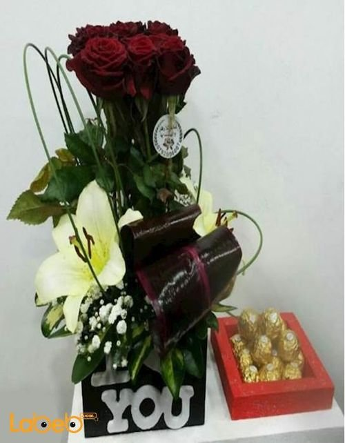 Flower bouquet laly red rose Dutch Green with Ferrero Rocher