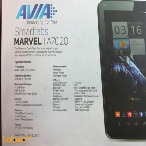 specifications Avia smarttabs Marvel A7020