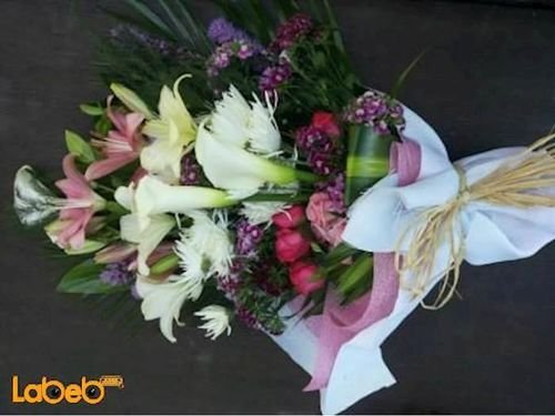 Flower bouquet created from Lilium Krez red rose Louisiana & Helium balloon