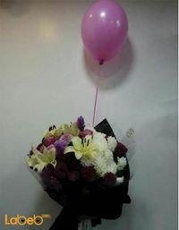 ضمة زهور - ليليوم - لياترس - ورد جوري فوشي - كريز - بالون فوشي