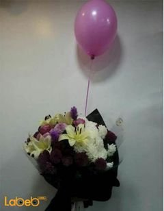 Flower bouquet - Lily - liatris -pink rose - Craze - pink balloon