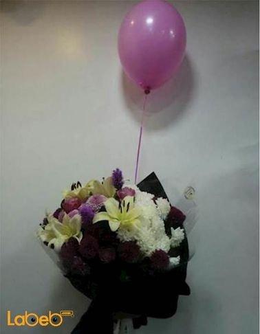 Flower bouquet - Lily - liatris -pink rose - Craze - pink balloon