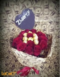 Flowers coordinated - rose flower and ferrero rocher chocolate