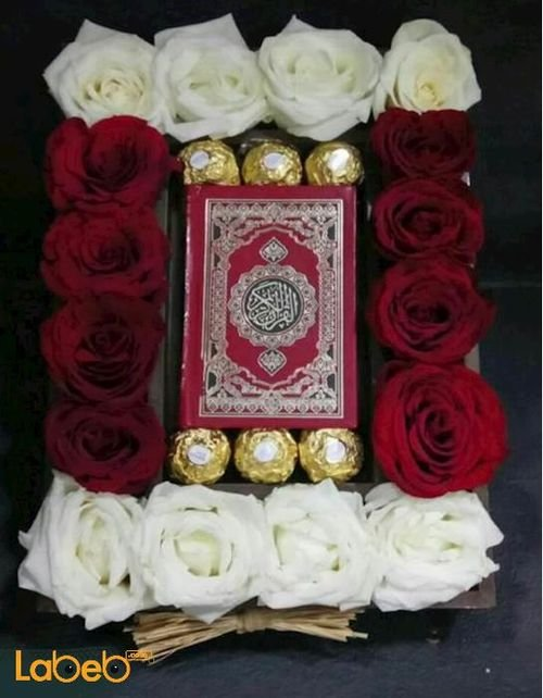 Flower box red & white rose ferrero rocher Mushaf
