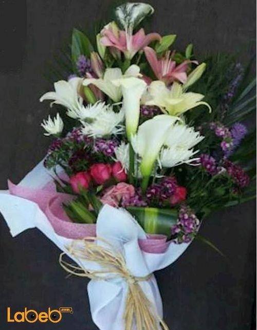 ضمة زهور ليليوم كالا ورد جوري كريز لياترس قرنفل صيني خضار هولندي