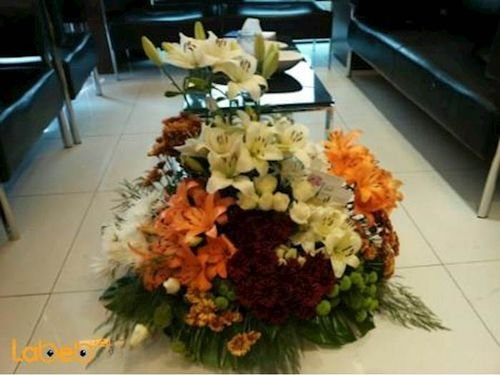 Flowers bouquet laly Craze floers Monstera deliciosa orange red white