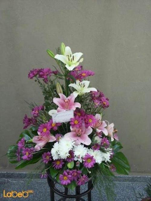 Flowers bouquet laly Craze Monstera deliciosa pink white