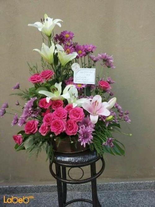 Flowers bouquet laly Craze Monstera deliciosa pink purple white