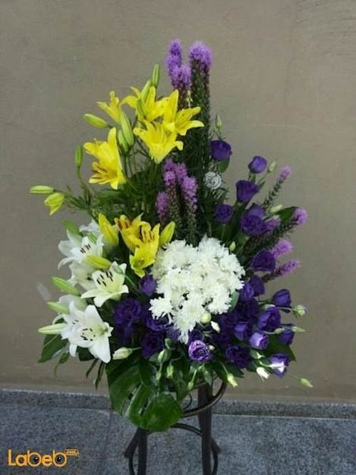 Flowers bouquet from laly Craze Monstera deliciosa purple white yellow green