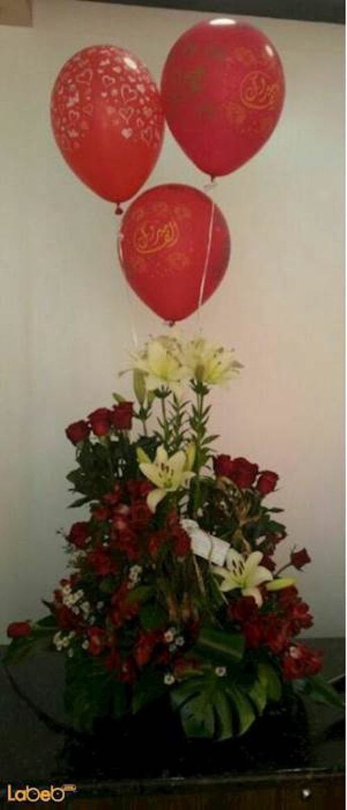 Flowers bouquet laly Craze Monstera deliciosa with balloons