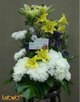 Flowers bouquet laly Craze and Monstera deliciosa yellow white purple