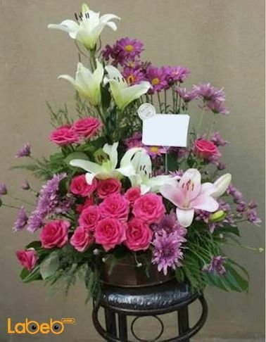 بوكية ازهار - ليليوم - ورد جوري - كريز - نبتة القفص الصدري