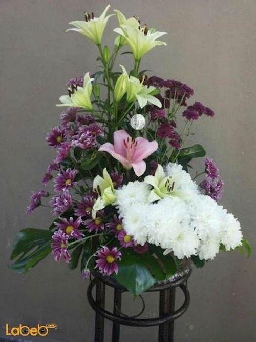 بوكية ازهار زهرة ليليوم زهرة كريز نبتة القفص الصدري بنفسجي وابيض