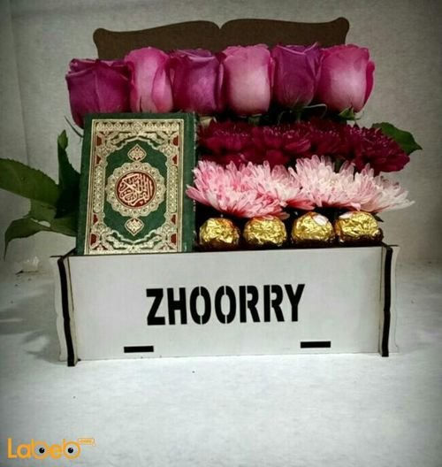 Flowers box from pink rose Craze Ferrero Rocher Mushaf