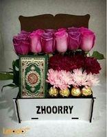 Flowers box designed from pink rose Craze Ferrero Rocher Mushaf