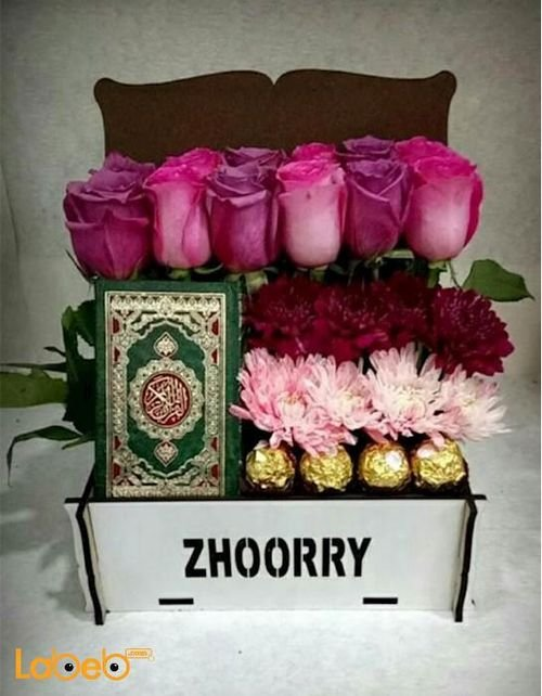 Flowers box designed from pink rose Craze Ferrero Rocher Mushaf