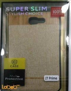 Case mobile back cover - for J7 prime smartphone - Gold color