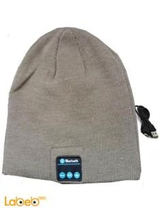 Bluetooth headset in the form of winter hat - gray color