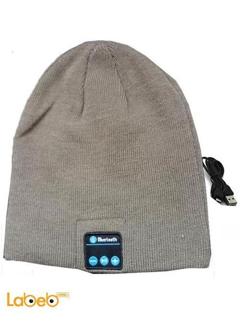 Bluetooth headset in the form of winter hat gray color
