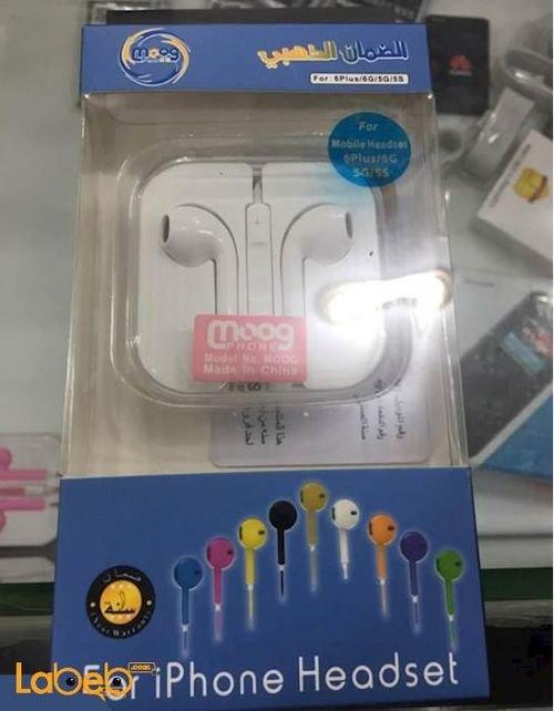 سماعة أذن Moog مناسبة لأجهزة الايفون 3.5 مم لون أبيض