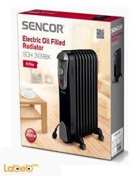 مدفئة زيت كهربائية Sencor قدرة 2000 واط أسود SOH 3109BK